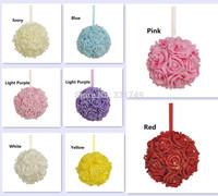 "7""(18cm) Wedding Foam Rose Shiny Gold Glitter Kissing Ball Flower Pomander Bouquet Ball + Crystal Pin"