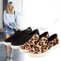 Women Men 2014 Fashion Leopard Flat Shoes Fur Leather Single Loafers Lovers Leisure Lace Flats Shoes #TS45
