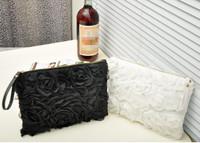 204 new lace rose Handbags white black for women bag free shipping