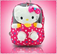2014 new polka dot canvas portfolio child plush cartoon school bag kids backpacks