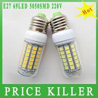 Retail 2014 New arrival 69leds SMD 5050 E27 LED bulb lamp ,Warm white/white,15W 220V-240V 5050SMD LED Corn Bulb Light free shipp
