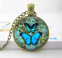 Wholesale Blue Butterfly Necklace. Vintage Globe Pendant. Charms. Butterfly Jewelry glass photo pendant necklace