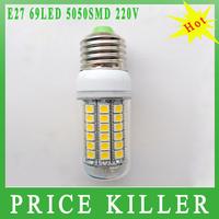 Retail 1pcs/lots E27 12W 69LED 5050 SMD Warm white/Cold white AC220V LED corn light bulb/spot light 1450LM free shipping