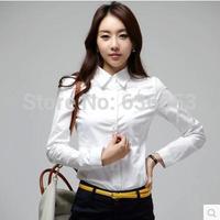body female office new  long-sleeve cotton silk  plus size white shirts female sleeve chiffon  work wear clothing sheer  blouses