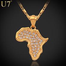 U7 18K Stamp 18K Real Gold Plated African Fashion Jewelry Women Men Gift Trendy Rhinestone Africa
