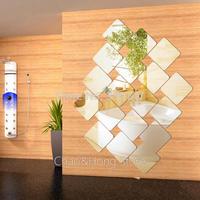 decals adesivo de parede 12pcs/set 15*15cm acrylic round angle or straight square wall mirror sticker 3d stickers diy c.e