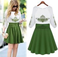 New 2014 Embroidery Flower Casual Summer Chiffon Dress Women Sundress  Fast Shipping Express Clothing