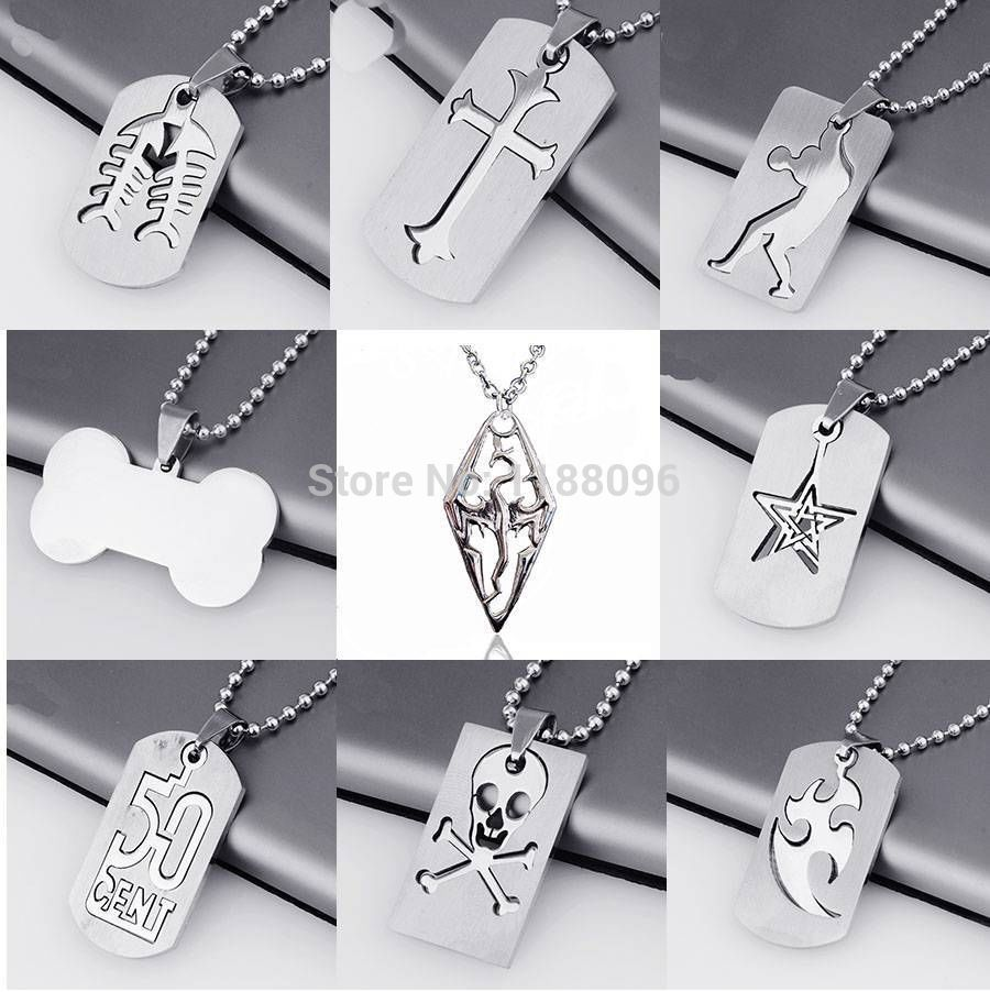 Wholesale and retail Metal Stainless Steel Dog tag Cross SKULL Dragon Necklace Pendant w Chain HL80244(China (Mainland))