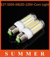5pcs/lot new arrival SMD 5050 15W E27 220v LED corn bulb lamp, 69LEDs, Warm white / white,5050SMD led lighting,free shipping