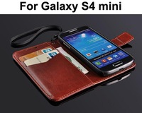For Samsung Galaxy S4 mini i9190 Luxury Wallet Stand Design Leather Case Mobile Phone cases Bag Flip Cover with card holder