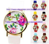 100pcs/lot 2014  fashion white geneva PU leather rose flower styles watch ladies women girls unisex quartz wrist dress watch