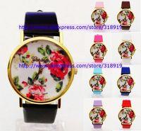 Discount sale New PU Leather Strap Woman Geneva Watch Simple Elegant Plum Blossom Chrysanthemum Rose Lily Flowers Design 200PCS