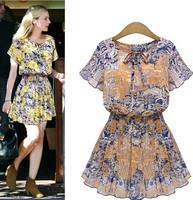 new fashion summer chiffon short sleeve plus size print women casual dress party dresses vestidos roupas femininos 2015