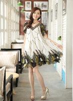 Free shipping 2014 summer big size clothing big size  medium-long big size gradient chiffon short-sleeve dress  XXXL XXXXL