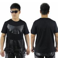 HEY GUYS Snake skin pu leather tshirt street wear club party  brand t shirt mens women t-shirts hot selling