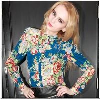 New spring Summer 2014 Women Blouses Personality Hot Printing Color Chiffon Long-sleeved Shirt free/drop shipping