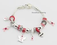 Care Breast Cancer Pink Ribbon Hope Bracelet 925 Silver CZ Stone Enamel Charms Love Embrace Bracelet Jewelry + Gift Pouch PB135