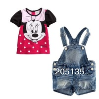2014 new Cute baby girls cartoon clothing set t shirt+ jeans pants overalls Toddler kids summer suits 2pcs in 1 trousers shirt
