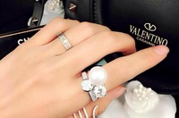 Luxury ring paragraph natural pearl novel 925 silver zircon finger ring Women accessories