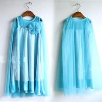 summer baby girl frozen princess TUTU dress ,blue lace yarn kid girl dress , new 2014 baby & kids clothing