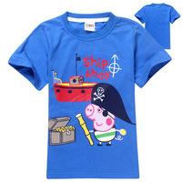 boy gorge tops,2014 New gorge Pig blue T-shirt ,boy Tees Cotton.girl t shirt. gorge pirate  shirt.kids boy clothes.george pig