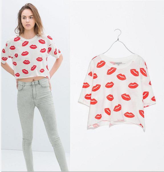 Nova Verão 2014 Moda Mulher 100% algodão t-shirt Red Lips impressão de manga curta cortada encabeça tshirts Roupa ocasional das senhoras # 2401(China (Mainland))