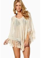 New 2014 Summer Beach Vacation Tassel Bat Sleeve Thin Shirt Sunblock Tassel Sexy Transparent Cover Up Beige Free ShippingHot Top