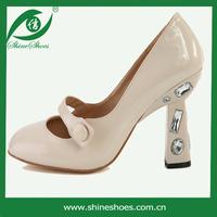 Beige chunky heels ladies shoes