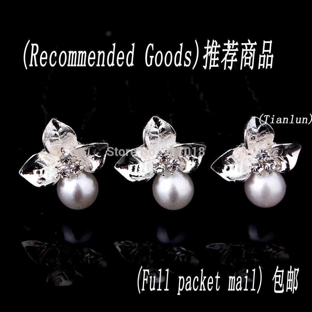 Free Shipping Wholesale 20pcs Lot Pearl Crystal Rhinestone Flower Hair Pins Clips Women Wedding Bridal Hair
