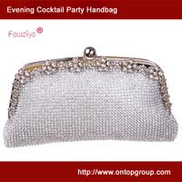 Diamond flower metal frame cocktail handbag - soft party purse - wedding party silver clutch