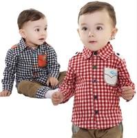Carters New 2014 spring autumn baby boy clothes 2pcs set: fashion plaid shirts+pants kids boys children's clothing sets infantis
