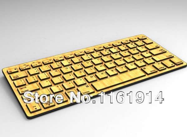 Free Shipping 2014 New Arrival Natural Handmade Bamboo Wood Bluetooth Keyboard(China (Mainland))