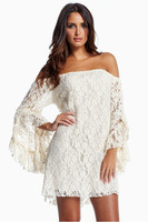 new 2014 women dresses strapless white lace dresses word collar Off The Shoulder Lace Dress free shipping