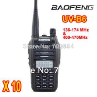 Free Shipping New Baofeng UV-B6 Dual Band Radio VHF and UHF Walkie Talkie 2 Way Radio 10pcs/lot