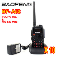 10 pcs/lot Black BF-A52 Walkie Talkie BaoFeng A52 VHF 136-174MHz/UHF 400-520MHz 5W 128CH VOX Two Way Radio