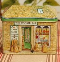Vintage Zakka Fashion Cookie Jar House Yellow Tin Box Candy Iron Leather Storage Box Metal Gift Case Sundries Finishing Box