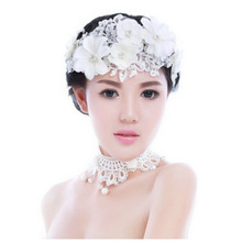 The New 2014 Handmade Lace Flowers married the bride Headdress Pearl Wedding accessories For Women