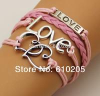 Wholesales fashion bracelets and bangles PU leather  Heart charm bracelet with Love connectors antique silver color