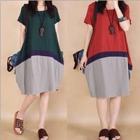 Summer Women Cotton Linen Contrast Color Knee Length Dress Vintage Casual Active Preppy Kleider Short Sleeve Loose Long Dresses