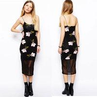 XS - XXL Orchid Print Long Dress Women Black Gauze Patchwork Spaghetti Strap Mesh Dress 2014 Summer New Brand Bodycon Plus Size