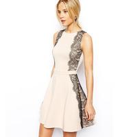 XS - XXL Eyelash Lace Women Summer Dress Female Slim Waist A-line Sleeveless Skater Dress 2014 New Brand Style Plus Size Fashion