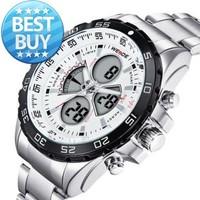 2014 WEIDE Sports Watch Luxury Brand Unique Design Back Light Men Multi-functional Analog Digital Wristwatch Japan Quartz 3ATM