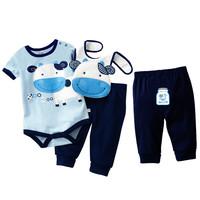 New 2014 Retail Baby 3pcs Suitsshort sleeve  Romper bib set Cotton Baby Bodysuit Bibs Pants Sets Sample order  -ZW474A