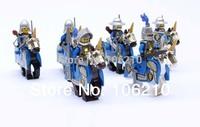 6pcs/lot Lion Cavalryman Minifigure fit all brand Building Block doll,Knight Brick accessory WOMA Sluban Decool mini figures