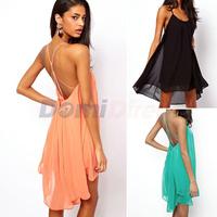 Fashion Novelty Halter Women Sexy Backless Sling Strap Chiffon dress Clubwear Beach Swing Sundress Mini Dress Plus Size S M L XL