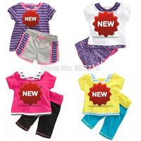 2014 new wholesale free shipping chidlren summer cloth set brand t shirt+pants children clothing set children girls cloth