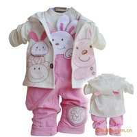 free shipping baby girl rabbit spring-autumn suspenders clothing set 3pcs toddle overalls clothes set kids apparel infant suit