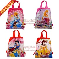 34*27CM Non-woven 4styles 1Pcs Frozen(Elsa,Anna,Olaf) ,Princess Cartoon Drawstring Backpack bags<school bags kids party  gifts