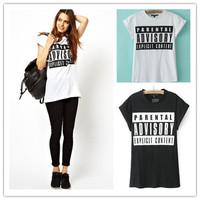 Women T-shirt Plus Size Tops Summer Spring Short Sleeve Parental Advisory Explicit Lapel Letter Print Tee blusas femininas