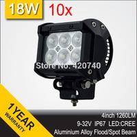 "Wholesale 10 PCS 4"" Inch 18W LED Work Drive Light Bar IP67 12V 24V For Motorcycle TRAILER OFFROAD 4WD ATV 4X4 BOAT FLOOD SPOT"